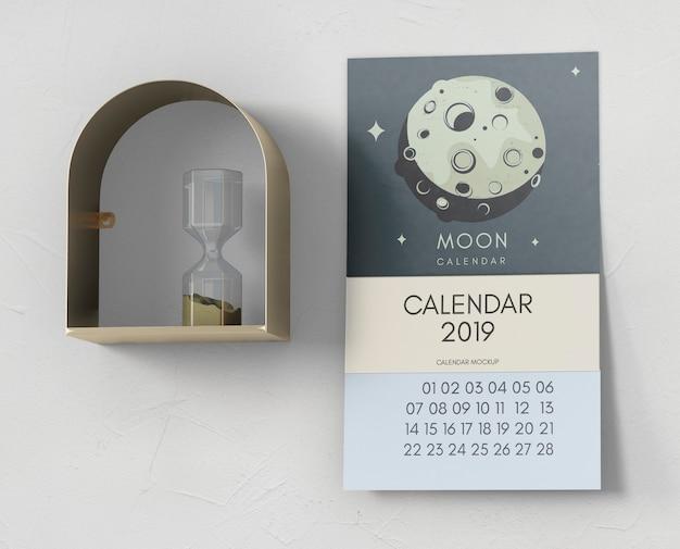 Decorative calendar mockup on wall Free Psd