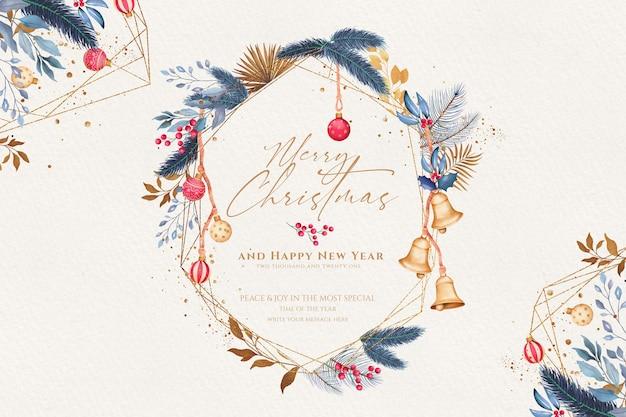 水彩画の装飾品と装飾的なクリスマスの背景 無料 Psd