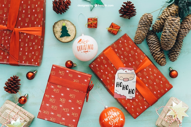 decorative christmas mockup with present boxes free psd