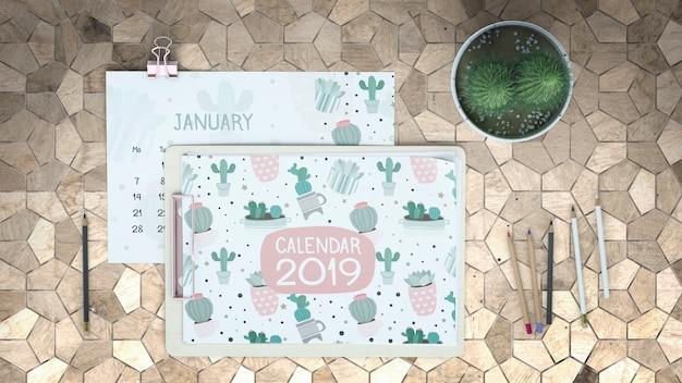 Decorative flat lay calendar mockup Free Psd