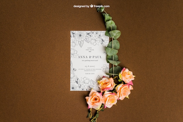 Decorative floral stationery wedding mockup Free Psd