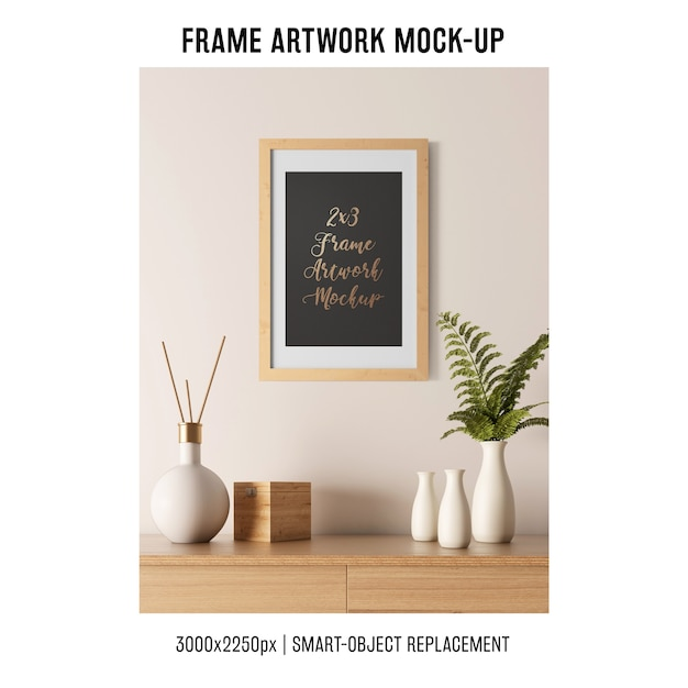 Decorative frame artwork mockup Free Psd