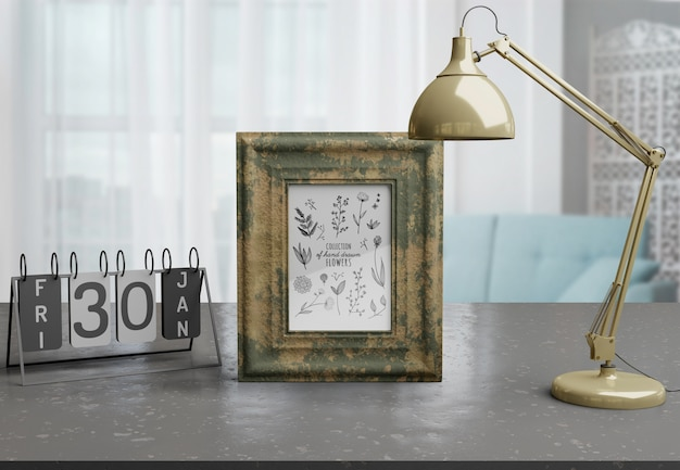 Decorative frame mockup on table at home Free Psd