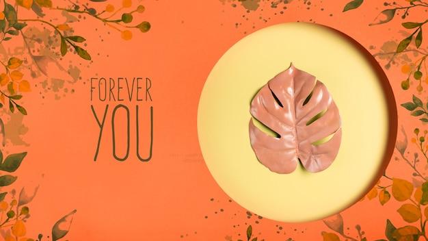 Decorative leaf painted mock-up Free Psd