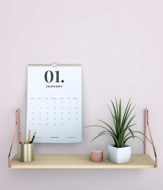 Decorative mock up hanging calendar Free Psd