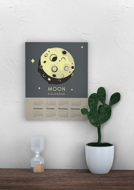 Декоративный макет настенного календаря с темой луны Бесплатные Psd