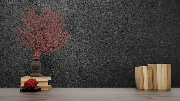 Decorative objects, old books and vases over black wall, japanese style. Free Psd