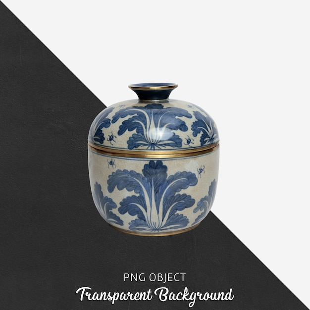 Decorative patterned ceramic object with lid on transparent Premium Psd