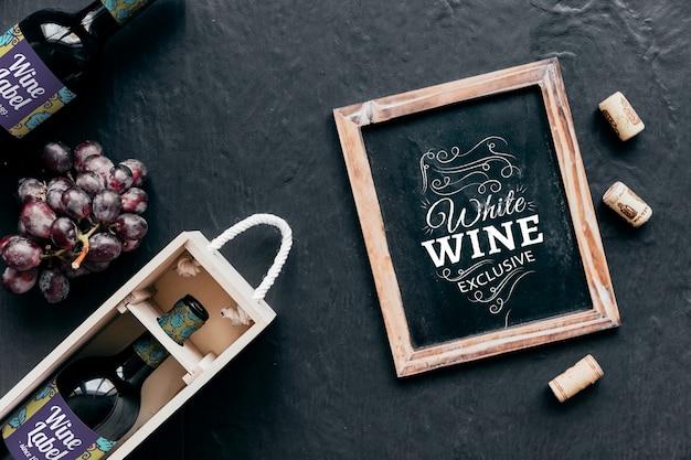 Decorative top view wine mockup with slate Free Psd