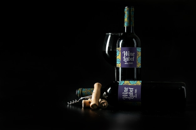 Decorative wine mockup with copyspace Free Psd