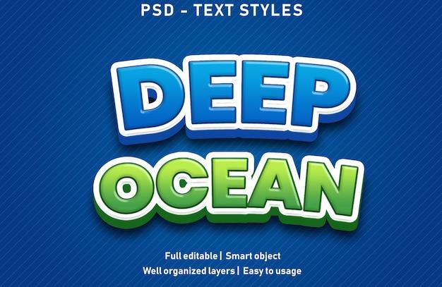 Глубокий океан текстовые эффекты стиль редактируемые psd Premium Psd