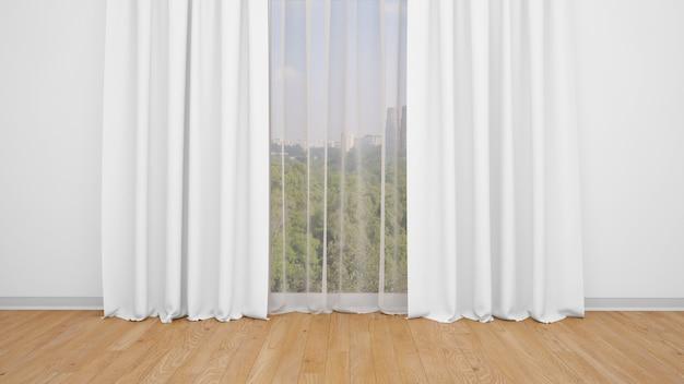 Delicate tende bianche, pareti bianche e pavimento in legno. stanza vuota come sfondo Psd Gratuite