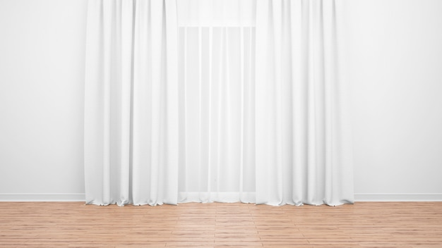 Delicate white curtains, white wall and wooden floor. empty room as background Free Psd