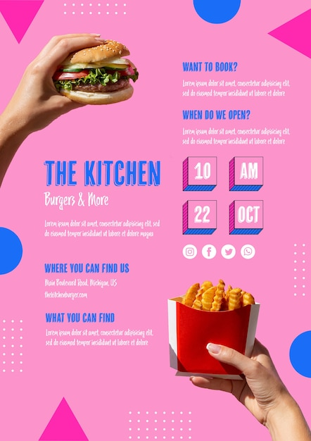 Delicious american fast food template Free Psd