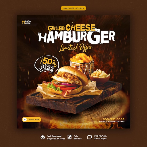 おいしいハンバーガーとフードメニューのソーシャルメディアバナーテンプレート 無料 Psd