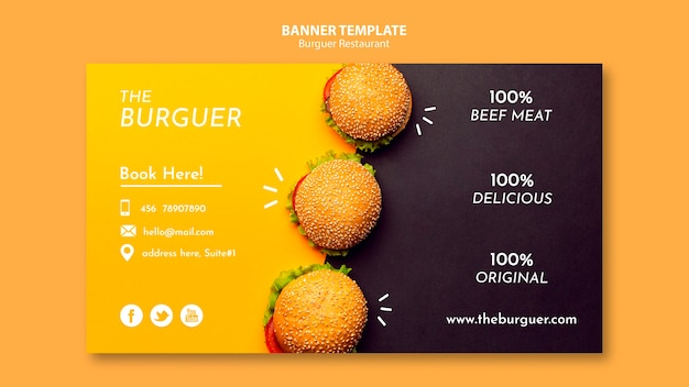Delicious burger restaurant banner template Free Psd