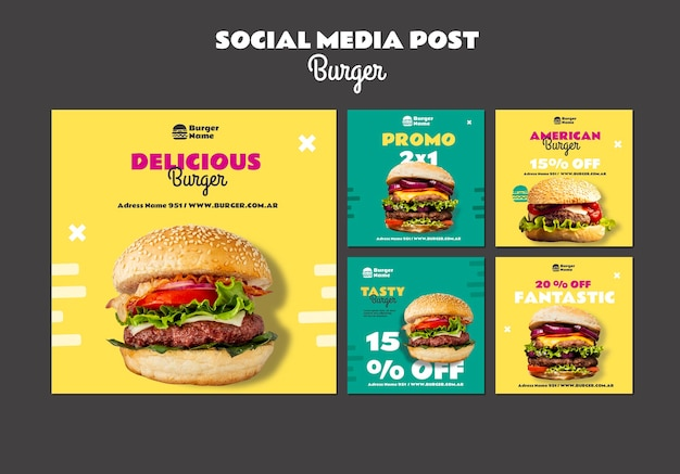 Шаблон публикации в социальных сетях вкусный бургер Premium Psd