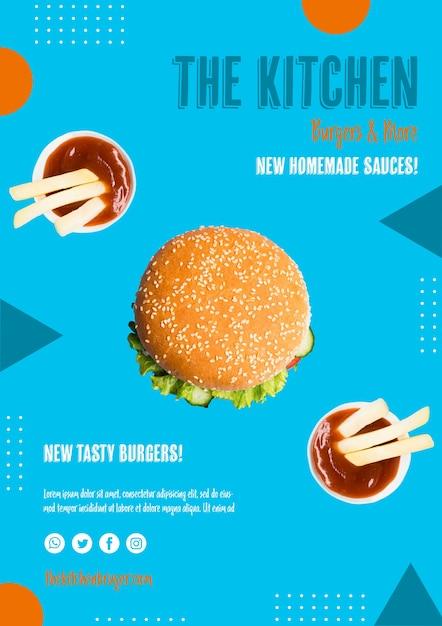 Вкусный гамбургер с соусом на стороне Бесплатные Psd