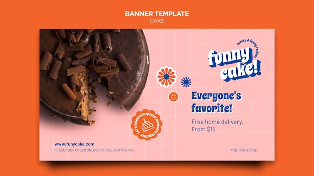Delicious cake horizontal banner template Free Psd