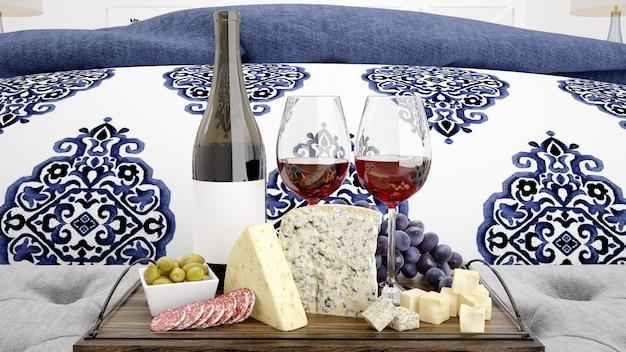 Вкусный сырный ассортимент с красным вином Бесплатные Psd