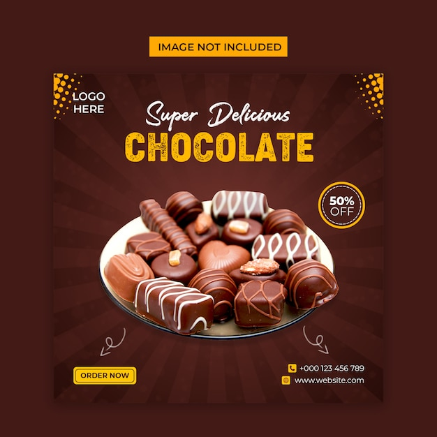 Delicious chocolate social media and instagram post template Premium Psd