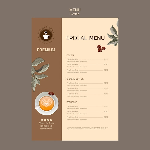 Delicious coffee menu template Free Psd