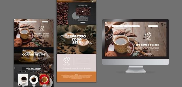 Вкусный кофе веб-шаблон Бесплатные Psd