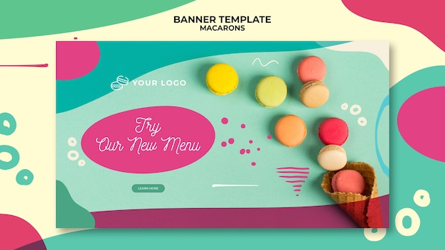 Delicious colourful sweet macarons banner template Free Psd