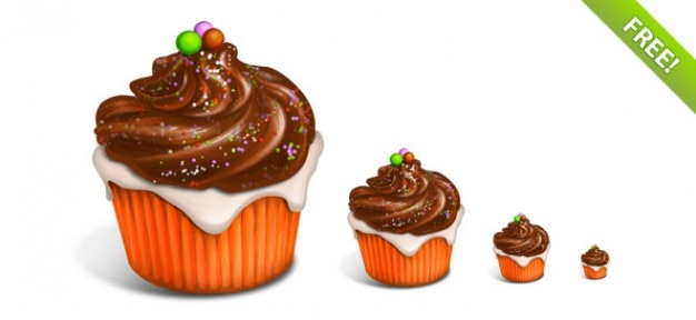 Delicious cupcake icons Free Psd