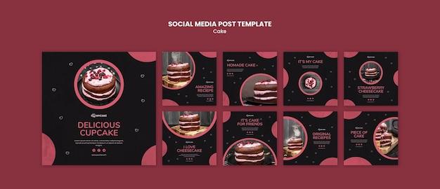 Modello di post sui social media delizioso cupcake Psd Gratuite