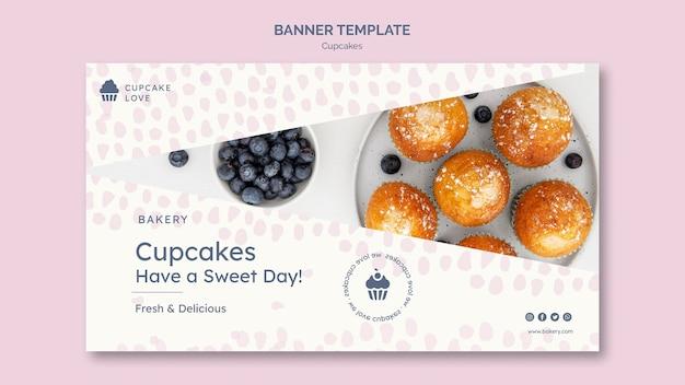 사진과 함께 맛있는 컵 케이크 배너 무료 PSD 파일