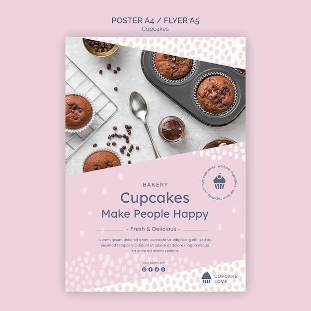 맛있는 컵 케이크 전단지 템플릿 무료 PSD 파일