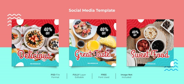 おいしいデザートフードメンフィススタイルのソーシャルメディアの投稿 Premium Psd