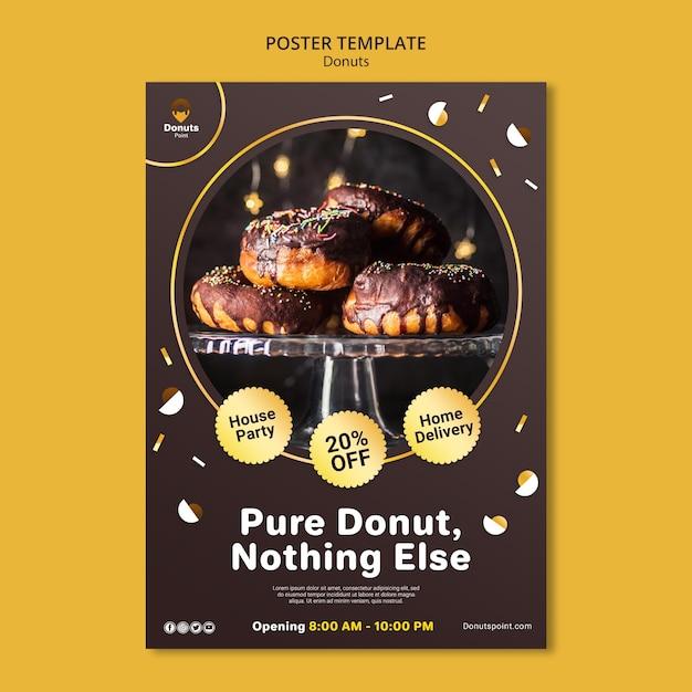 Шаблон плаката вкусные пончики с фото Бесплатные Psd