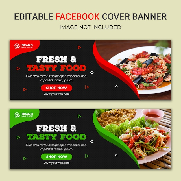 Delicious food facebook social media banner template Premium Psd