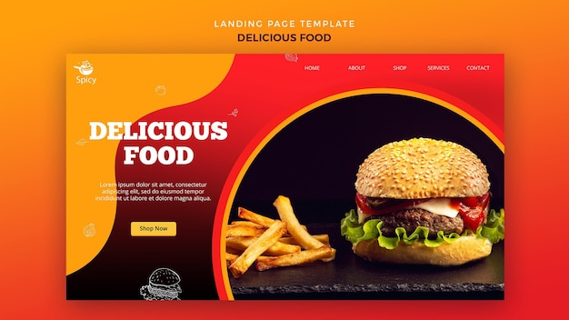 Free Psd Delicious Food Landing Page Design