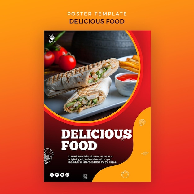 Delicious food poster design Free Psd