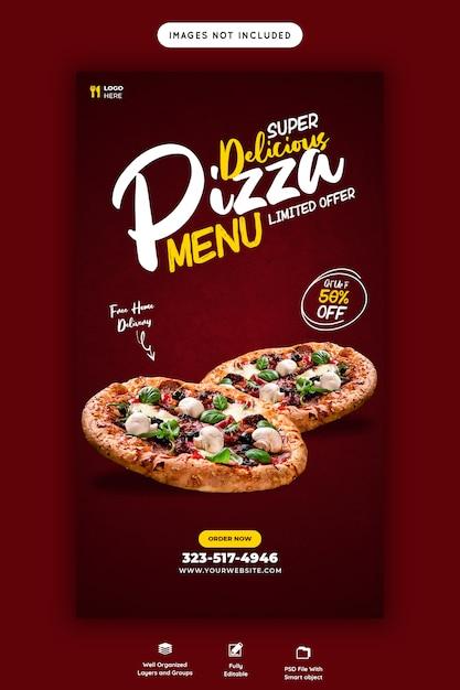 Delicious food sales menu instagram and facebook story template Premium Psd