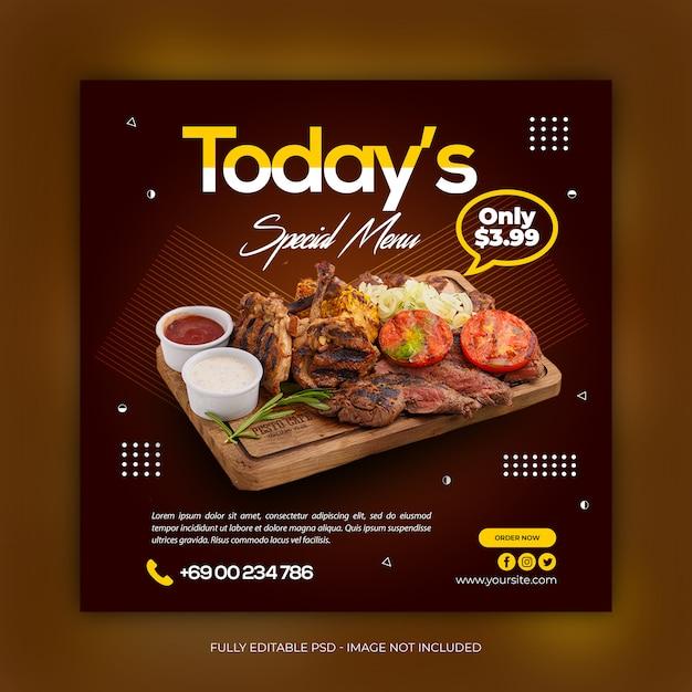 Delicious food social media post banner template Premium Psd