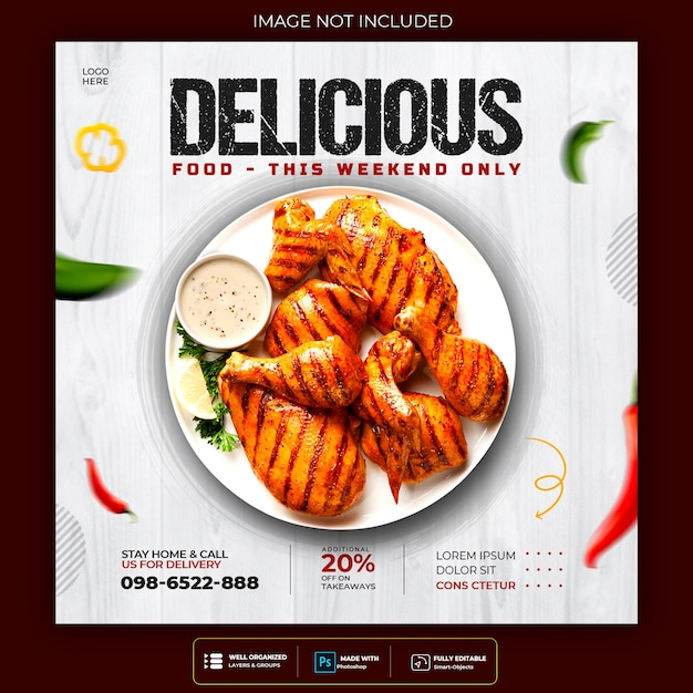 Delicious food social media post template Free Psd