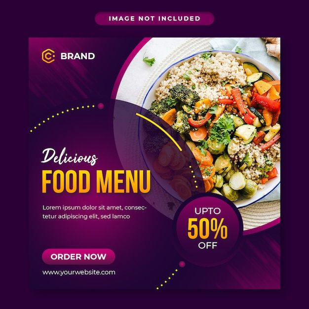 Delicious food social media post and web banner template Premium Psd