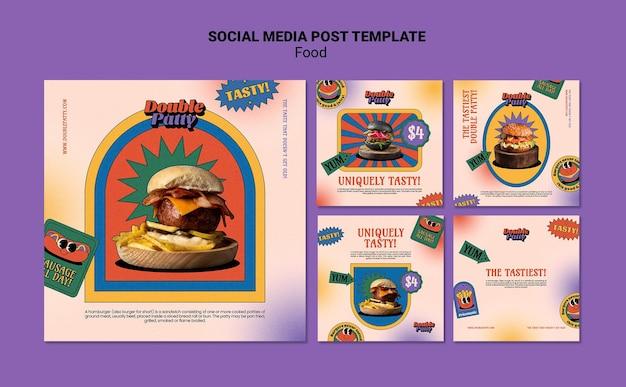 맛있는 음식 소셜 미디어 게시물 무료 PSD 파일