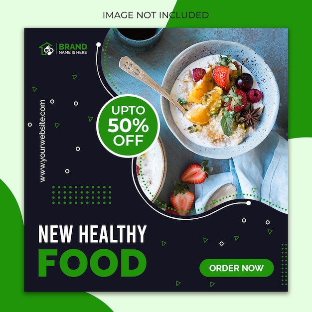 Delicious food social media square banner template Premium Psd