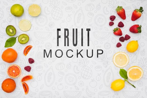맛있는 과일 개념 모형 무료 PSD 파일