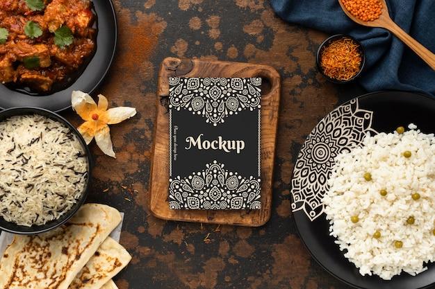 Delicious indian food arrangement Free Psd