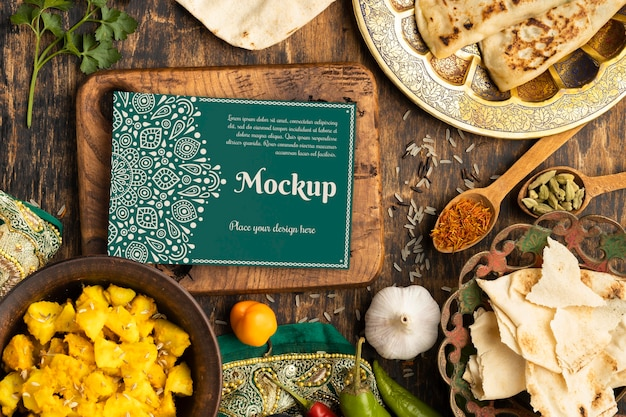 Delicious indian food assortment Free Psd
