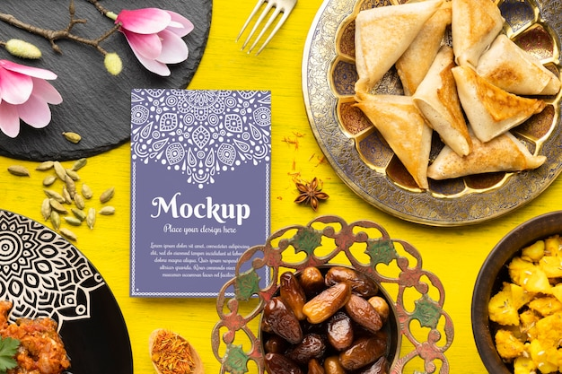 Delicious indian food with mockup Free Psd