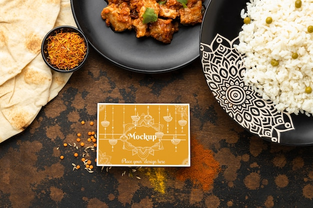 Delicious indian food with mockup Premium Psd