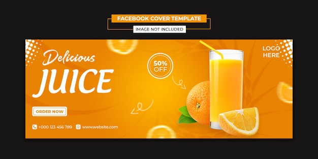 Delicious juice social media and facebook cover template Premium Psd
