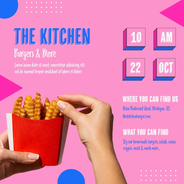Delicious kitchen menu with french fries Free Psd